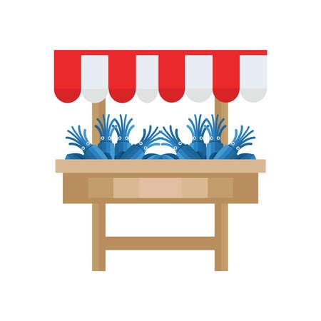 invertebrate: fresh blue Squid market