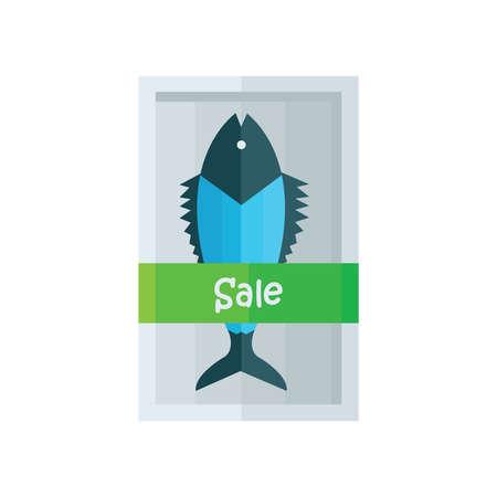 frozen fish: Sale Blue fresh fish Vector