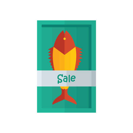 fished: Sale Yellow fresh fish Vector