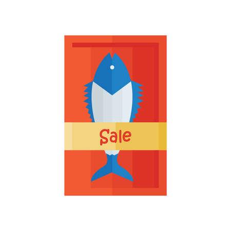 frozen fish: Sale fresh fish Vector Illustration