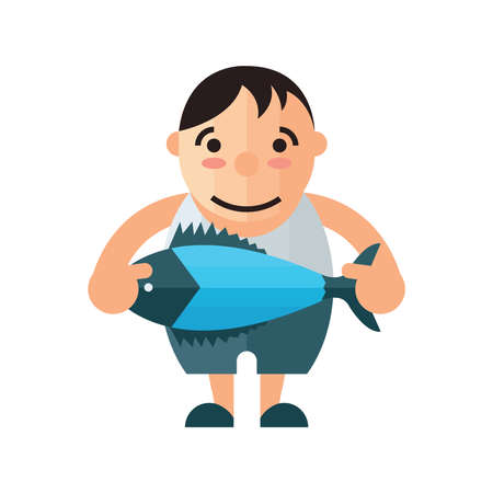 chinook: man and blue fish vector