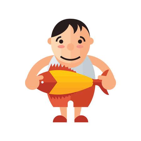 chinook: man and yellow fish vector