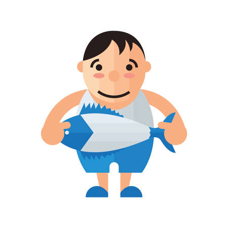 chinook: man and fish vector