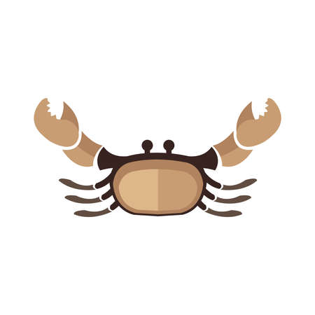patina: Crab icon flat design brown