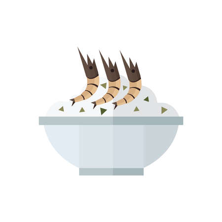 stir: rice and shrimp vector brown Illustration