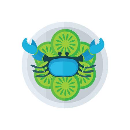 blue crab: blue crab and salad vector Illustration