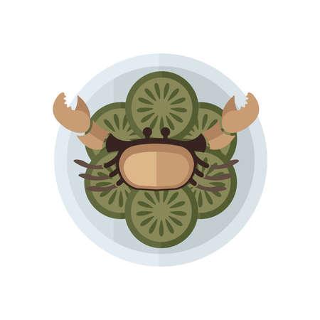 brown crab and salad vector Ilustracja