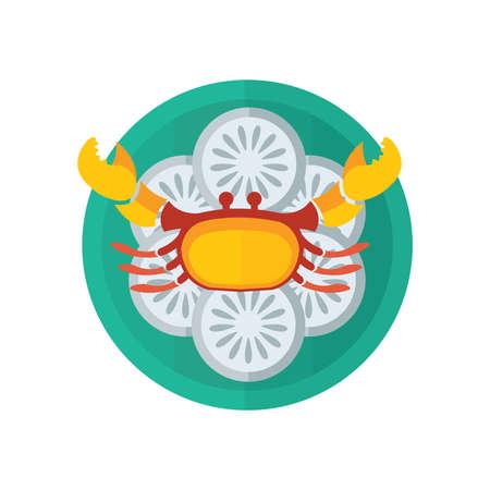 yellow crab and salad vector