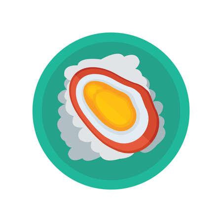 黄貝とサラダのベクトル