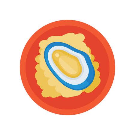 貝とサラダのベクトル  イラスト・ベクター素材