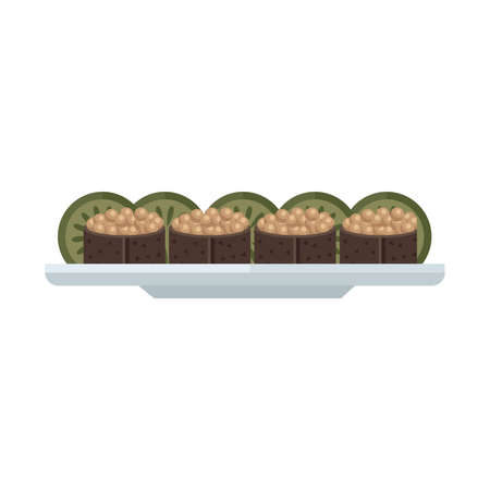 expensive food: brown spawn sushi rolls set