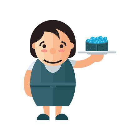 serves: waiter serves japanese traditional blue sushi. Illustration
