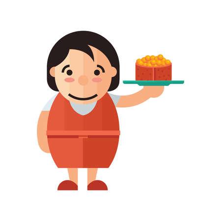 serves: waiter serves japanese traditional yellow sushi.