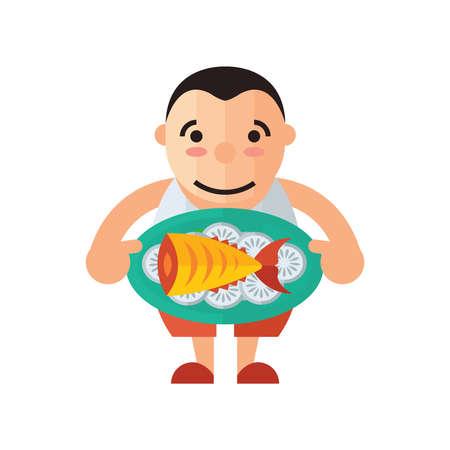 Man Waiter yellow Fish