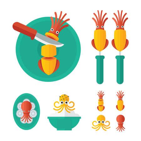 curry dish: orange Squid Food infographic Illustration