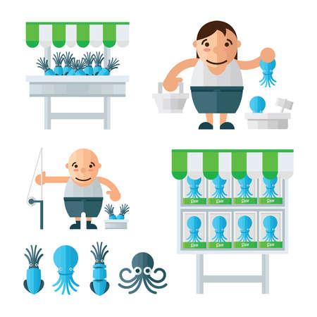 mollusc: infographic blue Squid market