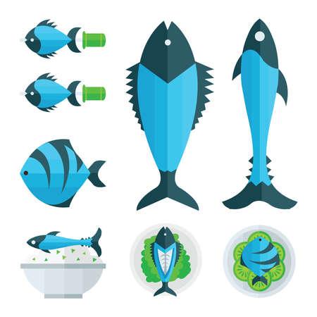 blue fish foods and salad infographic Иллюстрация