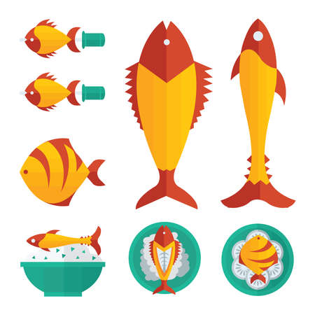 cooked rice: orange fish foods and salad infographic Illustration