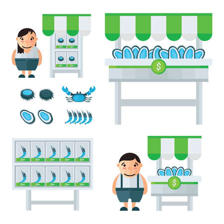 mollusc: blue and green Seafood Market infographic