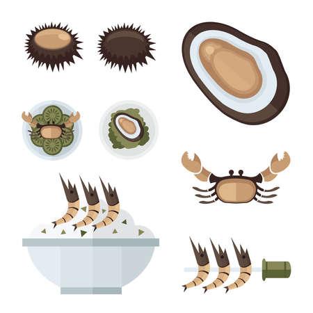 fried shrimp: Seafood infographic Illustration