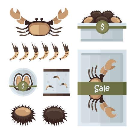 mariscos frescos infografía marrón, color verde Ilustración de vector