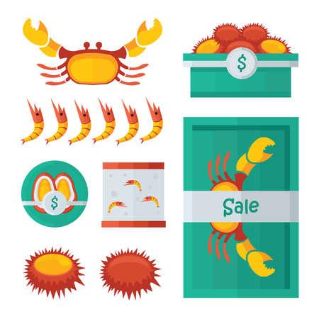 fresh seafood: fresh Seafood infographic orange, green color