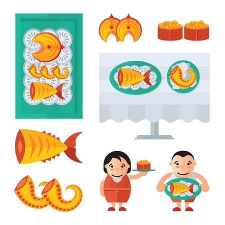 spawn: seafood in restaurant infographic blue, orange color