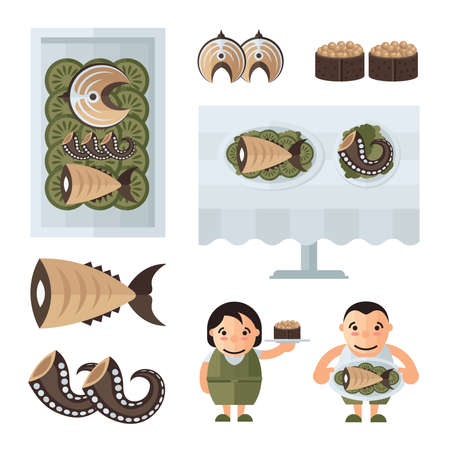 spawn: seafood in restaurant infographic brown, green color