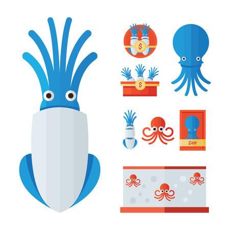 squid: infographic Squid Cartoon set