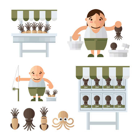 mollusc: infographic brown Squid market