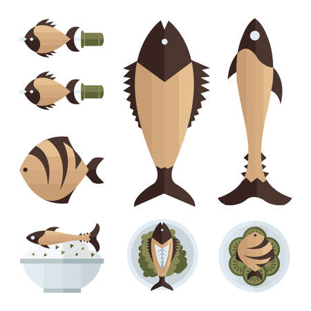 brown fish foods and salad infographic