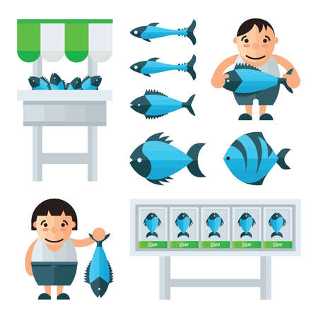 fisher: Man And woman in Fish Market infographic vector Illustration