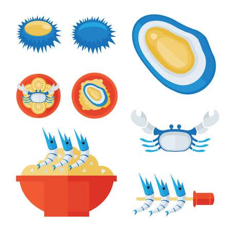savoury: Seafood infographic Illustration