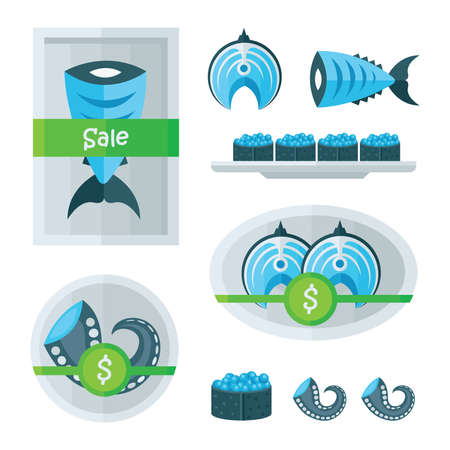spawn: steak fish and seafood infographic blue, Green color