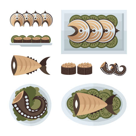 spawn: steak fish and salad infographic  brown, green color Illustration