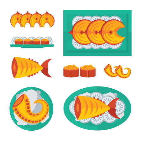 spawn: blue, orange color steak fish and salad infographic