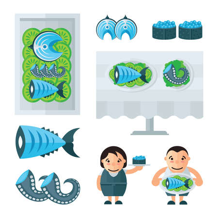 spawn: seafood in restaurant infographic blue, Green color