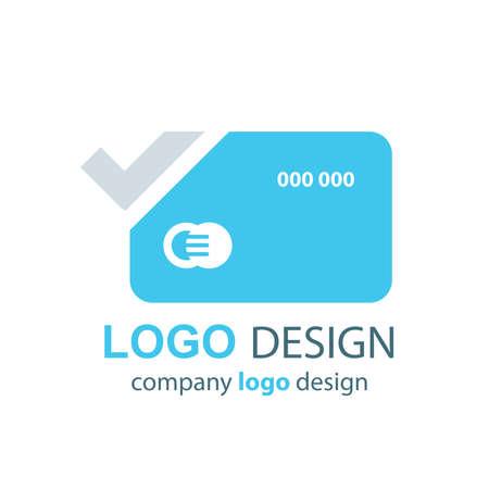 transact: card logo vector blue design