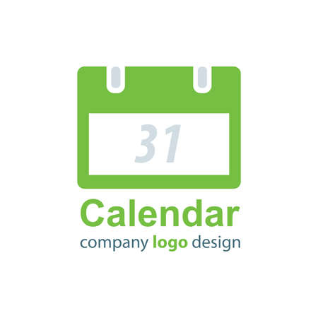 calendar design: calendar logo design  green style Illustration