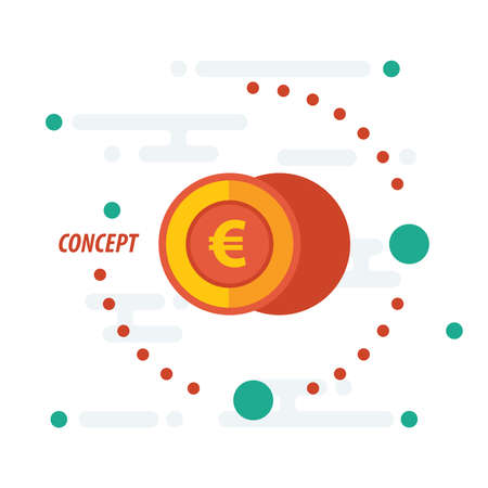accumulate: 2 euro coin concept yellow