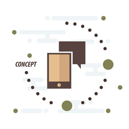 communicator: Smartphone and bubble talk concept brown Illustration