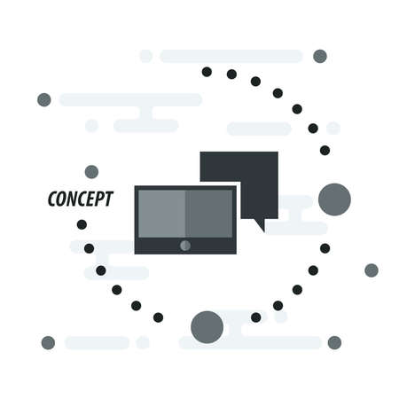 communicator: Tablet and  bubble talk concept  black Illustration