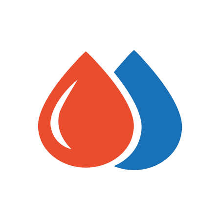 condensation on glass: drop of water icon design blue and orange Illustration