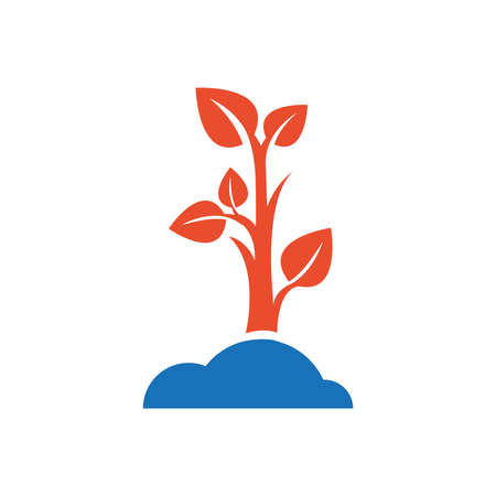 sapling: sapling icon design blue and orange Illustration