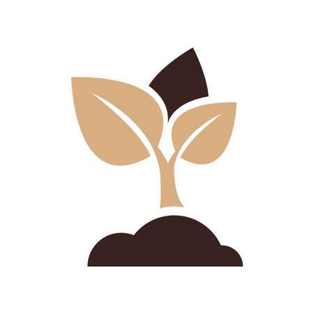 sapling: sapling icon vector brown color