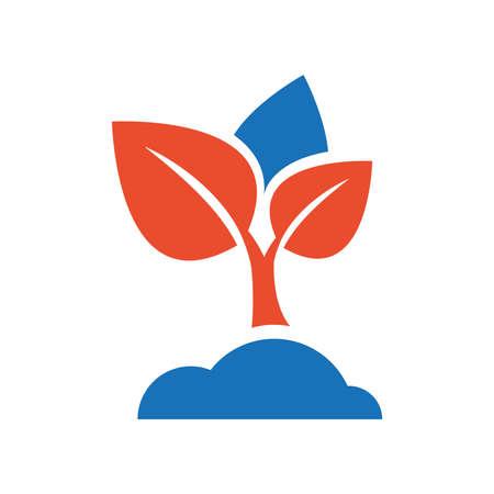 sapling: sapling icon vector blue and orange Illustration