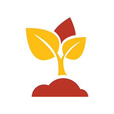 sapling: sapling icon vector yellow and red color