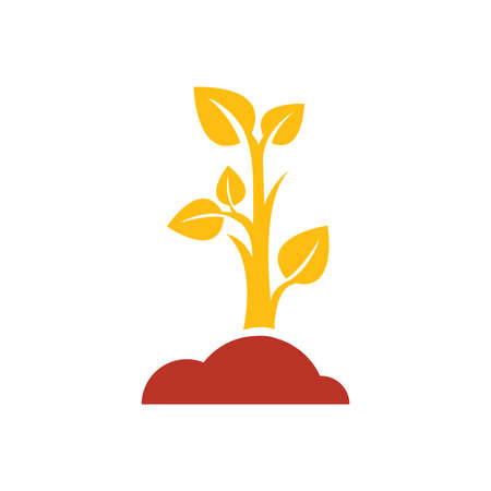 sapling: sapling icon design yellow and red color