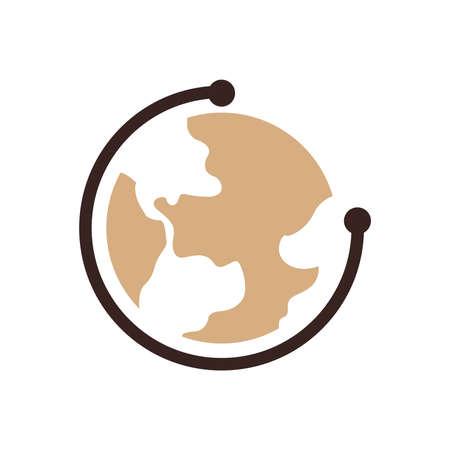 flat earth: Earth Icon design brown color