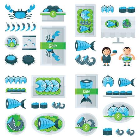 mariscos frescos azul infografía, color verde